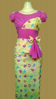 Myanmar Dress Myanmar Traditional Dress, Traditional Dresses, Indian Skirt, Sleeve Designs, Fasion, Casual Wear, My Design, Two Piece Skirt Set, Tutorials