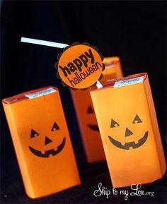 DIY Halloween : DIY Pumpkin Face Juice Box Covers DIY Halloween Decor