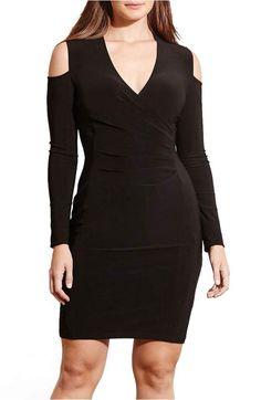 29b68a9771 Lauren Ralph Lauren Cold Shoulder Sheath Dress (Plus Size)
