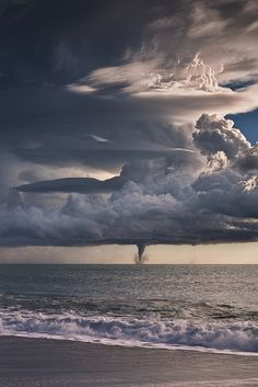 Impressive cloud formations with a waterspout (original photographer unknown)   #cloudscape #weather #sea #ocean #weather #mytumblr