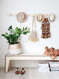 bench (already have)+ hooks above. baskets for extra storage mudroom