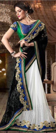 #Black and #White #Saree