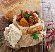 Lamb and Potato Bunny Chow recipe- South African food ideas. South African Dishes, South African Recipes, Indian Food Recipes, Lamb Recipes, Curry Recipes, Cooking Recipes, Braai Recipes, Lunch Recipes, Restaurants