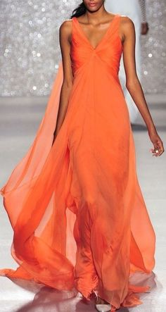 Lovely Dresses, Beautiful Gowns, Elegant Dresses, Beautiful Outfits, Formal Dresses, Looks Party, Glamour, Coral Dress, Orange Dress