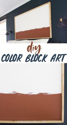 Creating a custom DIY color block art piece is easy and inexpensive to do. You can make a giant piece of artwork for your home and customize the colors to fit your personal decor. This is a project that someone with any DIY skill level can easily do. Block Painting, Painting Edges, Diy Home Decor Projects, Home Crafts, Home Wall Art, Home Art, Bedside Table Makeover, Modern Master Bedroom, Homemade Playdough