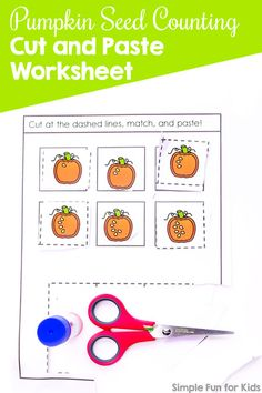 Cutting and pasting makes learning anything more fun! This cute printable Pumpkin Seed Counting Cut and Paste Worksheet is great for preschoolers and kindergarteners practicing counting and recognizing numbers Shapes Worksheet Kindergarten, Kindergarten Social Studies, Social Studies Worksheets, Kindergarten Worksheets, Worksheets For Kids, Fun Activities For Preschoolers, Fine Motor Activities For Kids, Autumn Activities For Kids, Number Activities