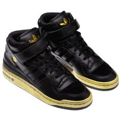 adidas forum mid shoes in black black gold. 3 sneakers