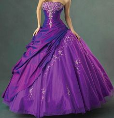 25% off Ball Gown Purple Prom Dress 2014 Strapless Floor-length Formal Gown