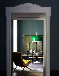 colors match: ceiling lamp's green and armchair's yellow velvet. DIMORE STUDIO, milan private house,