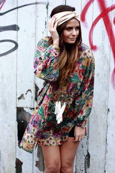bohemian colorful turban dress
