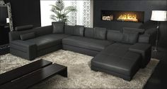 Furniture, Modern Living Room Equipped With Sophisticated Fireplace Also Decorated With Black Leather Sofa In U Shaped Designs Plus Awesome ...