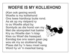 Afrikaans Is Maklik Grade R Worksheets, Preschool Worksheets, Word Work Activities, Toddler Learning Activities, Afrikaans Language, Afrikaans Quotes, Inquiry Based Learning, Kids Poems, Rhymes For Kids