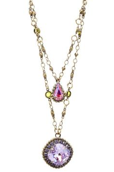 Coneflower Crystal Layered Style Pendant Necklace
