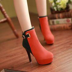 Elegant High Heeled Contrast Color Splicing Short Boots