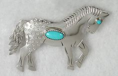 Hand Made Native American Indian Sterling Silver Horse Pins