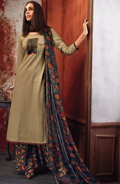 43e5c344008 Brown Printed Cotton Salwar Kameez - EKA4746 Latest Salwar Kameez