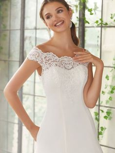 Phyllis Wedding Dress Peau de Soie, A-Line Gown with Pockets with Embroidered Appliqués on Net. Making A Wedding Dress, Lace Wedding Dress, Bridal Wedding Dresses, Dream Wedding Dresses, Wedding Dress Styles, Designer Wedding Dresses, Lace Dress, Allure Bridal, Allure Bridesmaid