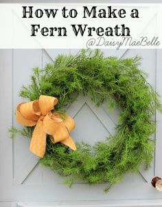 Fern Wreath with Chevron Burlap Bow