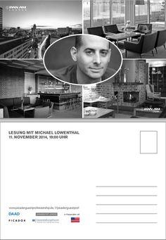 Michael Lowenthal liest in Berlin! Don't miss! Einlass nur nach Anmeldung unter booking@panam-lounge.de.