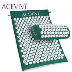 Aceviviマッサージクッション指圧マット和らげるストレス痛み鍼スパイクヨガマット付き枕ドロップ配送31