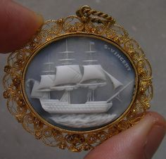 "Rarest Cameo of one of ""Three Sisters"" Ships        Material: Hard Stone, 15K gold tested.   Size: 1 5/8"" by 1 14/32"" excluding the bail, size including the bail 1 26/32"".   Date and Origin: 1830/1840 England.    Conditions: A tiny hard stone loss on the right side of the cameo, at three o' clock, does not affect the carving. Not noticeable by naked eye"