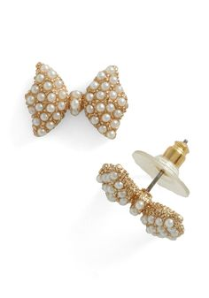 Etiquette Class Earrings - Gold, Solid, Pearls, White, Gold, Wedding, Holiday Party, Daytime Party, Graduation, Top Rated
