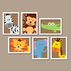 JUNGLE Animal Elephant Giraffe Alligator Zebra Lion Monkey Set of 6 Prints WALL ART Gallery Baby Nursery Decor