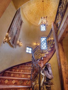 Steps made of reclaimed wood have a herringbone design with inlaid, hand-painted tiles set on a bias. Tiled Staircase, Spiral Staircase, Staircase Design, Staircase Ideas, Stair Steps, Old World Style, House Stairs, Stairway To Heaven, Stairways