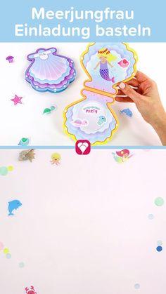 🐬 🐚 Meerjungfrau Einladungskarte basteln   Bastelt Euch selbst eine zauberhafte Meerjungfrau Einladungskarte im Muschel Design. Mit vielen Stickern zum Dekorieren bastelt Ihr die Karte genau so, wie Ihr sie Euch vorstellt. 🐬 🐚   Ganz viel Spaß beim Basteln!   Dein balloonas Team   #Meerjungfrau #Meerjungfrauparty #Meerjungfraugeburtstag #sommer #einladung #einladungskarte #poolparty #Wasserparty #Gartenparty #Arielle #Muschel #Kinderparty #kindergeburtstag #basteln #bastelnmitkindern Slime Videos, How To Look Better, Invitation, Google, Design, Invitation Text, Shell, Garden Parties, Design Comics