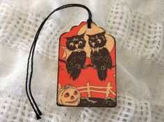 Owl Couple Halloween Gift Tags // Set of 6 // Vintage Style