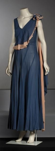 ANONYMOUS circa 1930  Long in periwinkle blue crepe dress