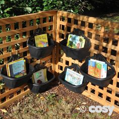 This is a great idea for outdoor storage. Bins small enough to hold just a few things, can be staggered or layered however you choose. I would paint them to bring a little color against a bland background. Outdoor Learning Spaces, Outdoor Play Areas, Outdoor Activities For Kids, Eyfs Outdoor Area Ideas, Summer Activities, Family Activities, Eyfs Classroom, Outdoor Classroom, Outdoor School