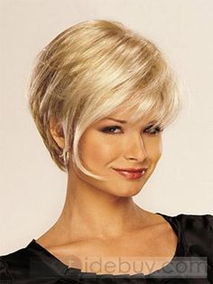 High Quality Elegant Short Straight Blond 10 Inches Synthetic Hair Wigs