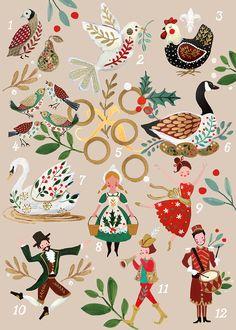 Christmas illustrations 2017 on Behance Christmas Design, Christmas Art, Winter Christmas, Vintage Christmas, Christmas Decorations, Christmas Ornaments, Christmas Images, Illustration Noel, Christmas Illustration Design
