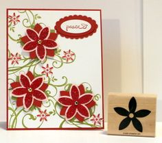 STAMPIN UP  5 petal Daisy Flower stamp~use with su 5-petal punch make poinsettia #Stampinup