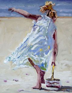 14x11 Oil on Belgian Linen,   Wedding at the Beach by Diane Whitehead