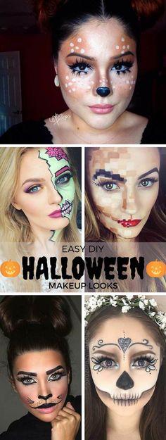 Easy Halloween Makeup Tutorials Featuring Harley Quinn, Melting - easy makeup halloween ideas