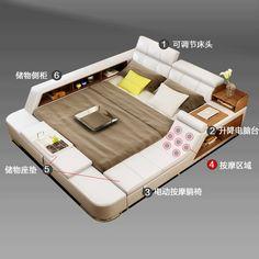 سرير الجلد الحديث .سرير مزدوج 1.8 متر سرير نظام تخزين. سرير الزواج. سرير ناعم السرير المربح غرفة نوم