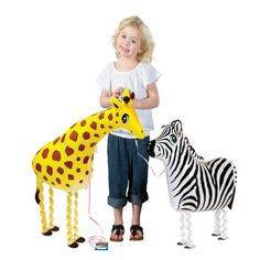 Get your own Pet Zebra Balloons featuring blue eyes that's attached to a blue leash. #Safari
