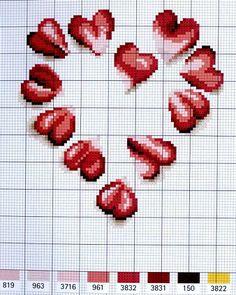 cross stitch chart ¸.•♥•.¸¸Just Hearts¸.•♥•.¸¸