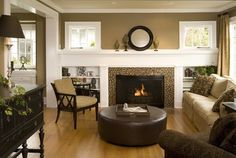 Two Story Great Room Wall Colors With Brown Leather Furniture Design, Pictures, Remodel, Decor and Ideas