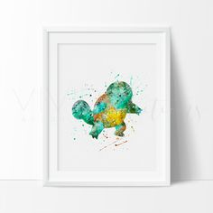 Squirtle Pokemon Watercolor Art . This art illustration is a composition of digital watercolor images and silhouettes in a minimalist style.