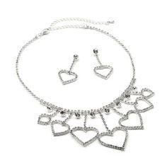 #jeweltweets Silver Crystal Rhinestone Heart Shape Charms Crystal Dangle Necklace & Matching Heart Shape Dangle Earrings Jewelry Set
