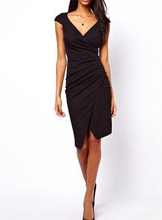 Asymmetrical Hem Polyester Solid Color Dress For Women (BLACK,ONE SIZE) | Sammydress.com