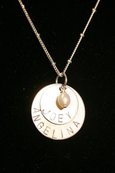 Hand stamped pendant with sterling, fresh water pearl, sterling chain and clasp, $55