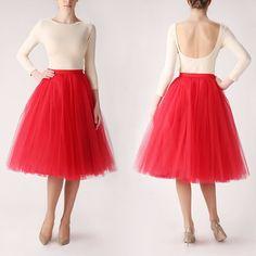 Red tutu tulle skirt petitcoat long high quality by Fanfaronada