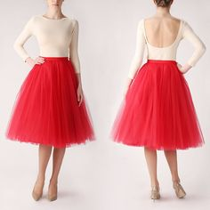 Red tutu tulle skirt petitcoat long high quality by Fanfaronada