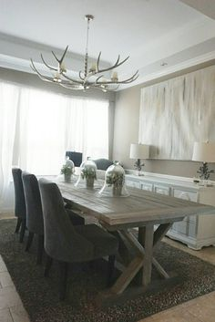 This Gorgeous 108 Inch Trestle Table Was Handmade And Finished With A Gray Jacobean Stain Rustic Dining Roomsdining