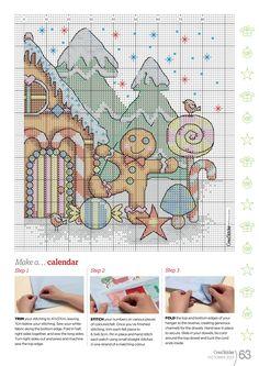 Gingerbread house cross stitch pattern part 2 Xmas Cross Stitch, Cross Stitch Needles, Beaded Cross Stitch, Cross Stitch Charts, Cross Stitch Designs, Cross Stitching, Cross Stitch Embroidery, Cross Stitch Patterns, Cross Stitch Pictures