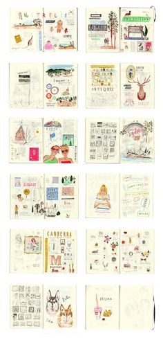 Aren't these fun sketchbook spreads? They are by UK artist Nina Cosford.  Australia sketchbook pages, Moleskine journals - Nina Cosford